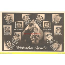 AK - Briefmarken - Sprache - Deutsches Reich - Hindenburg